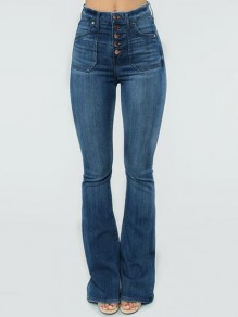 Dark Blue Single Breasted Distressed Pockets High Waisted Flare Bell Bottom Long Jeans