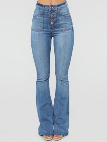 Light Blue Single Breasted Distressed Pockets High Waisted Flare Bell Bottom Long Jeans