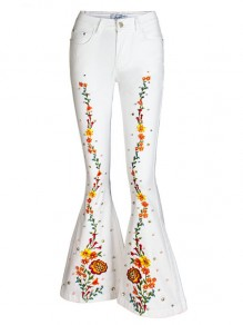 White Patchwork Floral Embroidered Print Pockets Buttons High Waisted Flare Bell Bottom Long Jeans
