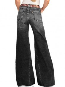 Jeans longs poches boutons jambe large taille haute palazzo vieilli vieilli noir