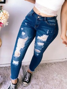 Dunkelblau Destroyed Ripped Zerrissen High Waist Lange Jeans Hose Damen Mode