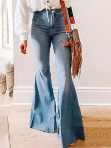 Blue Patchwork Buttons High Waisted Flare Bell Bottom Fashion Retro Jeans Pants