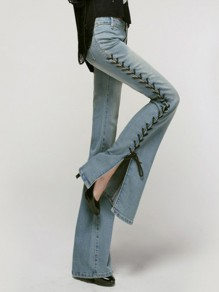 Light Blue Patchwork Zipper Strappy High Waist Long Flare Jeans