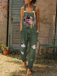 Army Green Colorful Lips Print Pockets Sleeveless Ripped Destroyed Overall Jeans Long Dungarees Jumpsuit
