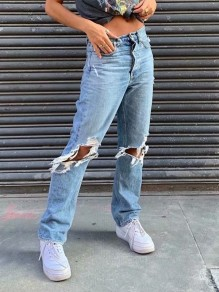 Light Blue Patchwork Buttons Ripped Destroyed High Waisted Fashion Jeans Pants