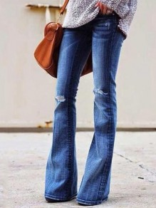 Dark Blue Cut Out Distressed Ripped Pockets Denim Plus Size High Waisted Bell Bottomed Flares Long Jean