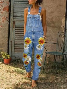 Blue Sunflower Print Pockets Shoulder-Strap Sleeveless Denim Long Dungarees