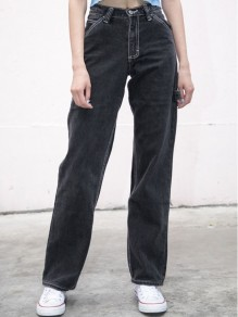 Black Pocket Buttons Zipper High Waisted Vintage Long Jean Pants
