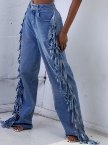 Blue Pockets Buttons Patchwork Tassel Wide Leg Palazzo Pants Long Jeans