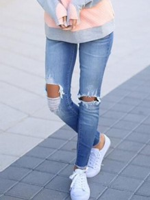 Blau Cut Out Zerrissene Destroyed Ripped Lange Jeans Hose Mit Löchern Damen Mode