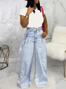 Light Blue Pockets Belt Distressed High Waisted Casual Wide Leg Long Jeans