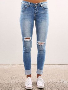 Blau Cut Out High Waisted Ripped Skinny Zerrissene Jeans Röhrenjeans Lange Hose Damen Mode