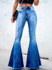 Blue Pockets Buttons High Waisted Big Flare Bell Bottom Long Jeans