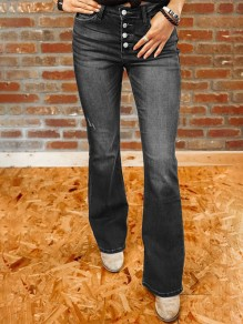 Black Pockets Single Breasted High Waisted Flare Bell Bottom Bootcut Long Jeans