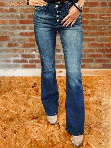 Dark Blue Pockets Single Breasted High Waisted Flare Bell Bottom Bootcut Long Jeans