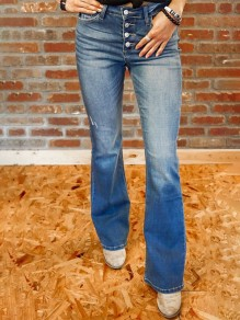 Blue Pockets Single Breasted High Waisted Flare Bell Bottom Bootcut Long Jeans