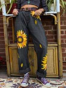 Black Sunflower Print Pockets Buttons High Waisted Wide Leg Palazzo Roll Up Long Mom jeans