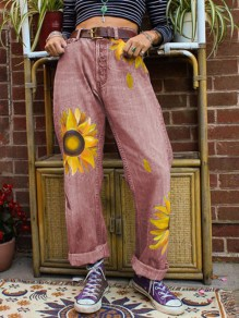 Red Sunflower Print Pockets Buttons High Waisted Wide Leg Palazzo Roll Up Long Mom jeans