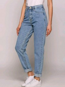 Blue Pockets Buttons Zipper High Waisted Loose Fashion Long Jeans