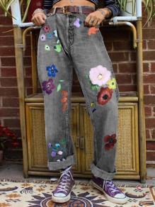 Grey Patchwork Pattern Pockets Comfy Mid-rise Fashion Jeans Pants