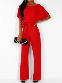 Red Buttons Sashes Round Neck Short Sleeve Elegant Long Jumpsuit