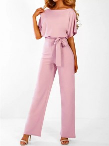 Pink Buttons Sashes Round Neck Short Sleeve Elegant Long Jumpsuit