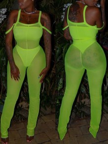 Sheer Green Grenadine Three Piece Bodycon Sheer Club Long Jumpsuit