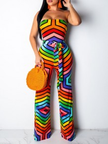 Red Rainbow Striped Off Shoulder Belt Backless Party Wide Leg Palazzo Long Jumpsuit