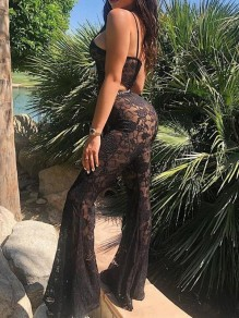 Black Lace Spaghetti Strap Cut Out One Piece Flare Bell Bottom Bohemian Long Jumpsuit