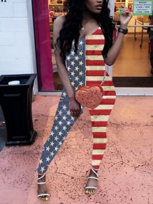 Red-White Striped American Flag Spaghetti Strap Independence Day One Piece Casual Long Jumpsuit