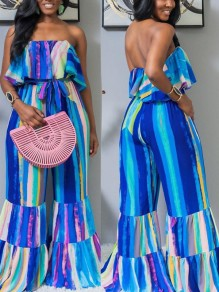 Blue Striped Off Shoulder Ruffle Belt Bohemian Beachwear Wide Leg Palazzo Long Jumpsuit