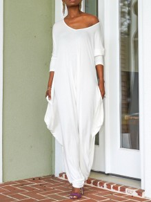 White One Off Shoulder Pockets Draped Harem Casual Long Jumpsuit