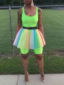 Neon Green Patchwork Grenadine Belt Casual Short Jumpsuit With Tulle Train