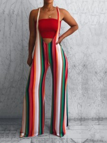 Red Rainbow Striped Jamaica Bohemian Beach Overall Wide Leg Palazzo Long Jumpsuit