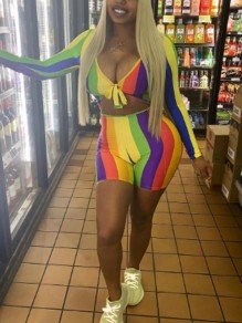 Yellow-Green Rainbow Striped High Waisted Two Piece Jamaica Rasta Short Jumpsuit