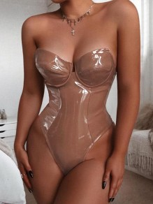 Apricot Off Shoulder Bodycon PU Leather Latex Party Bodysuit