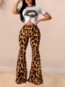 Brown Leopard Rave Outfits Flare Bell Bottom High Waisted Two Piece Long Jumpsuit