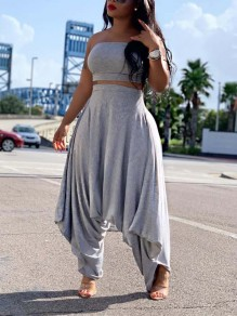 Grey Off Shoulder Pleated Two Piece Harem Casual Long Jumpsuit