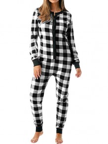 Black Plaid Buffalo Checkered Buttons Christmas Onesie Long Jumpsuit