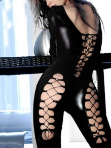Black Lace-up Backless Bodycon PU Leather Latex Halloween Party Long Jumpsuit