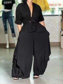 Black Knot Pleated Pockets Two Piece V-neck Casual Wide Leg Palazzo Party Long Jumpsuit