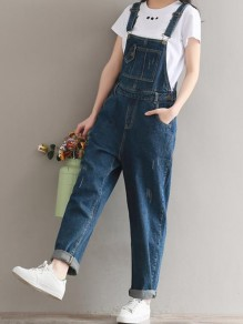 Blue Patchwork Pockets Overall Pants Fashion Long Denim Jumpsuit