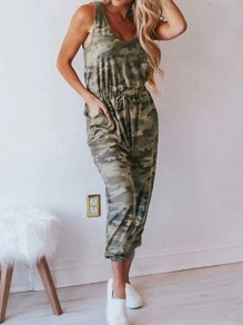 Green Camouflage Pockets Drawstring Going Out Jumpsuits
