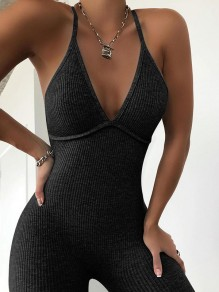 Black Backless Bodysuit Comfy V-neck Fashion Jumpsuits