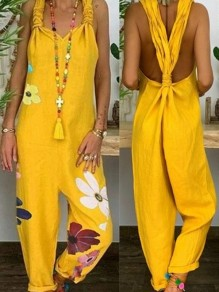 Yellow Floral Print Dungarees Overall Pants Fashion Jumpsuits