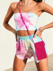 Rosa Tie Dye Bandeau 2-in-1-Kurzoveralls mit hoher Taille