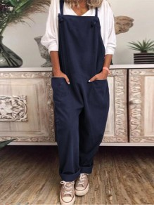 Navy Blue Patchwork Pockets Shoulder Strap Overall Pants Oversized Fashion Jumpsuits