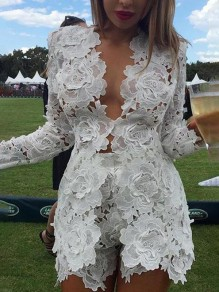 White Patchwork Lace 2-in-1 Long Sleeve Fashion Jumpsuits