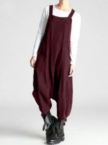 Dark Red Patchwork Draped Streetwear Overall Pants Fashion Long Jumpsuit