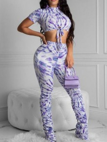 Purple-White Floral Tie Dye Crop Pleated Ruched High Waisted Two Piece Long Jumpsuit